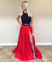 Black Lace Crop To Red Satin Two Piece Prom Dresses 2017 ...