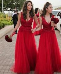 V Neck Bridesmaid Dress,long Bridesmaid Dress,red Formal ...