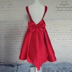 Bow Party Dress Burgundy Homecoming Short