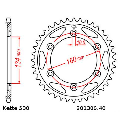 Kettensatz Honda VTR 1000 SP2 02-06, Kette RK RR 530 XSO