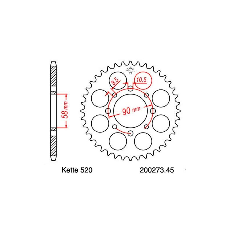 Kettensatz geeignet für KTM Duke 125 11-13 Kette RK 520