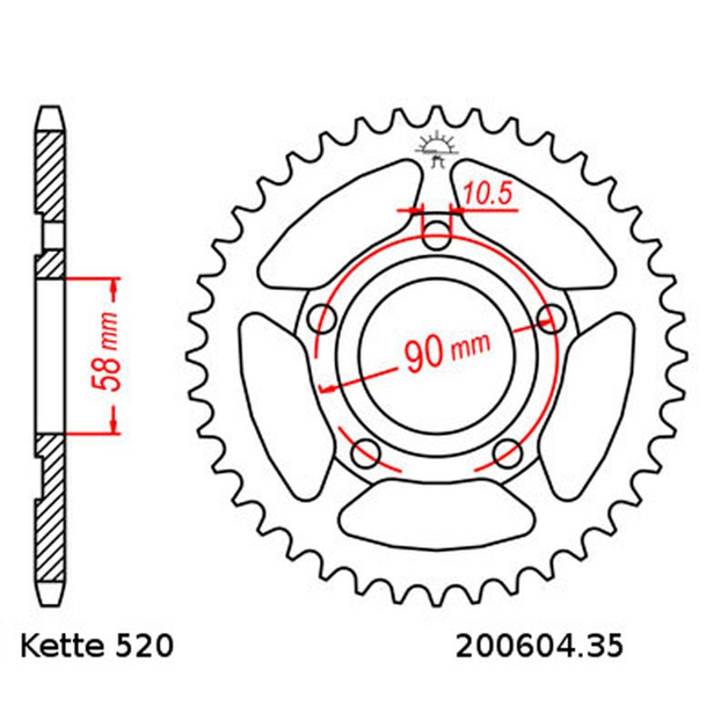 Steel rear sprocket with pitch 520 and 35 teeth JTR604.35
