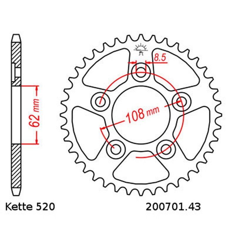 Chain and Sprocket Set Cagiva Mito 125 90-91 DID 520 L 114