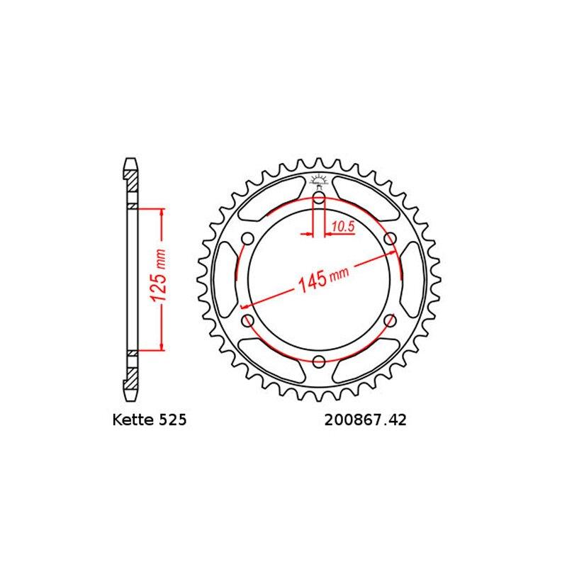 Kettensatz geeignet für Yamaha TDM 850 96-98 Kette RK 525