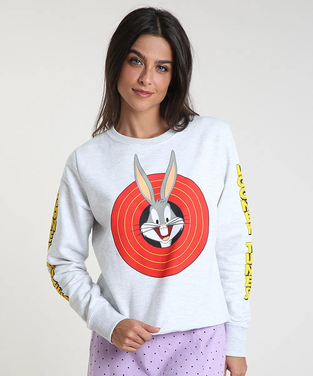Blusao-Feminino-Looney-Tunes-em-Moletom-Felpado-Cinza-Mescla-Claro-9912927-Cinza_Mescla_Claro_1