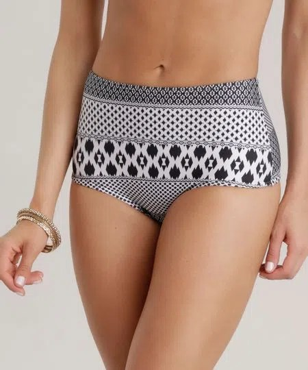 Biquni Calcinha Hot Pant Estampado tnico com Proteo UV 50 Off White  cea