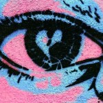 Pink and blue painted eye