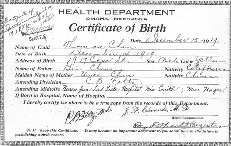 Thomas Chin 1919 Birth Certificate, Omaha, NE – midwives listed ...