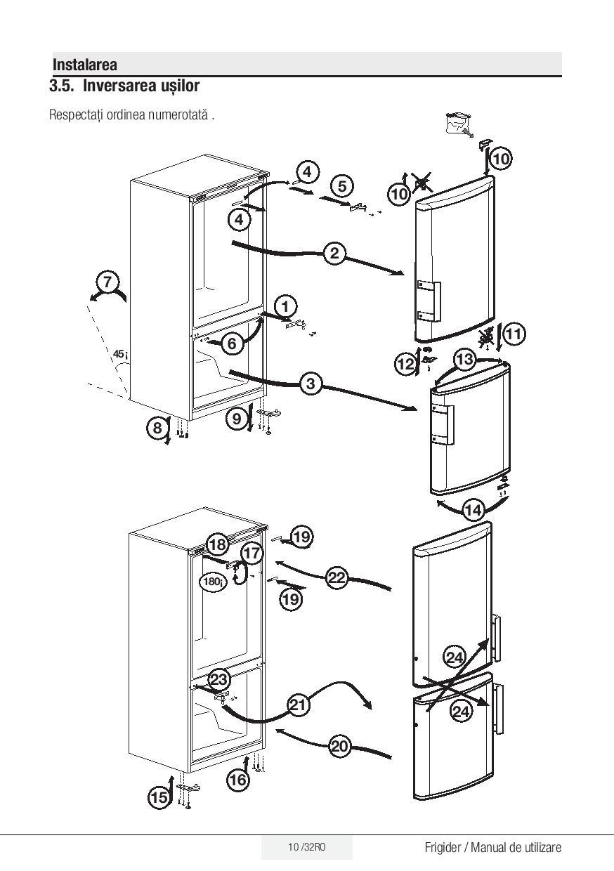 manual de utilizare combina frigorifica