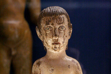 Miniature wood statue sculpted in the late 17th century by the guarani indians and the jesuits