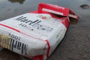 photo of wet cigarette pack