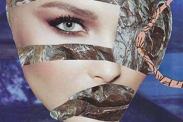 collage piece of a woman's face