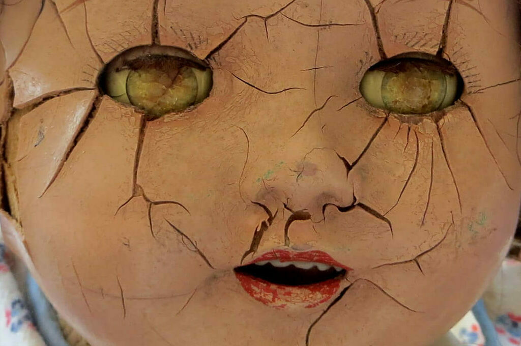 photo of creepy doll head