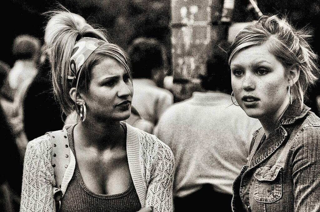 photo of women talking