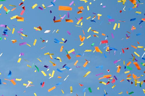 photo of confetti falling