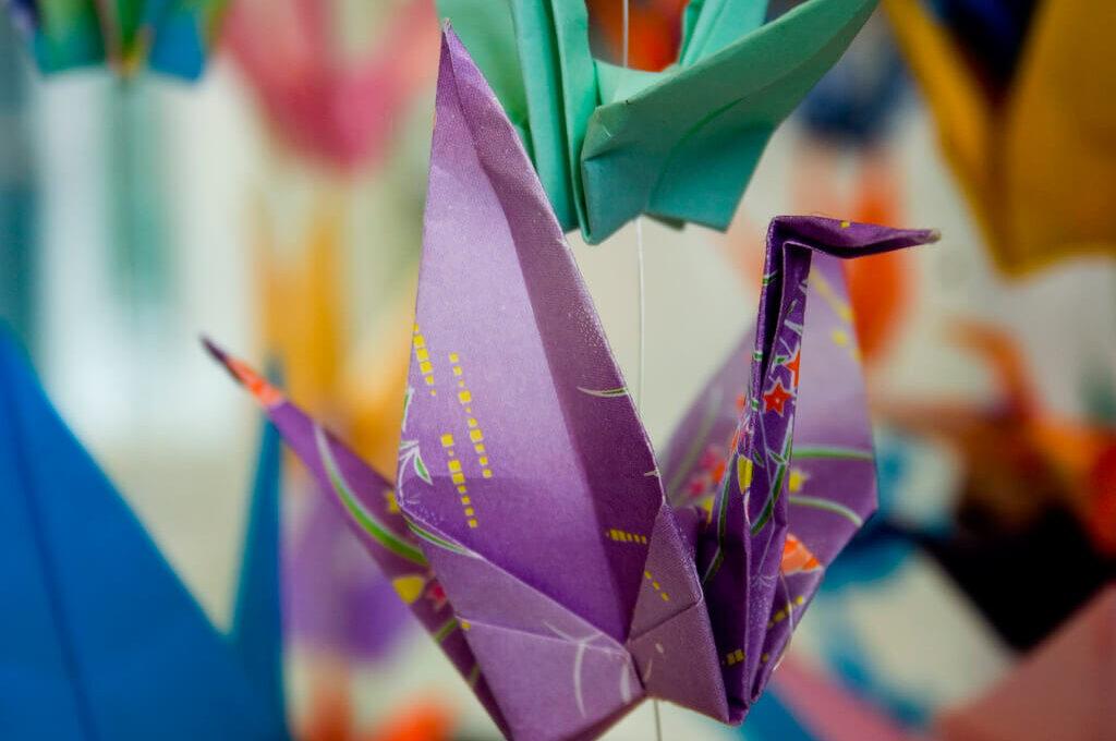 photo of paper cranes