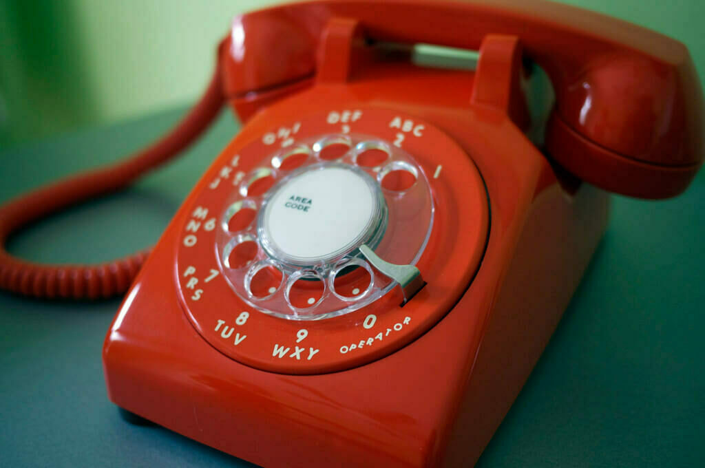photo of red rotary phone