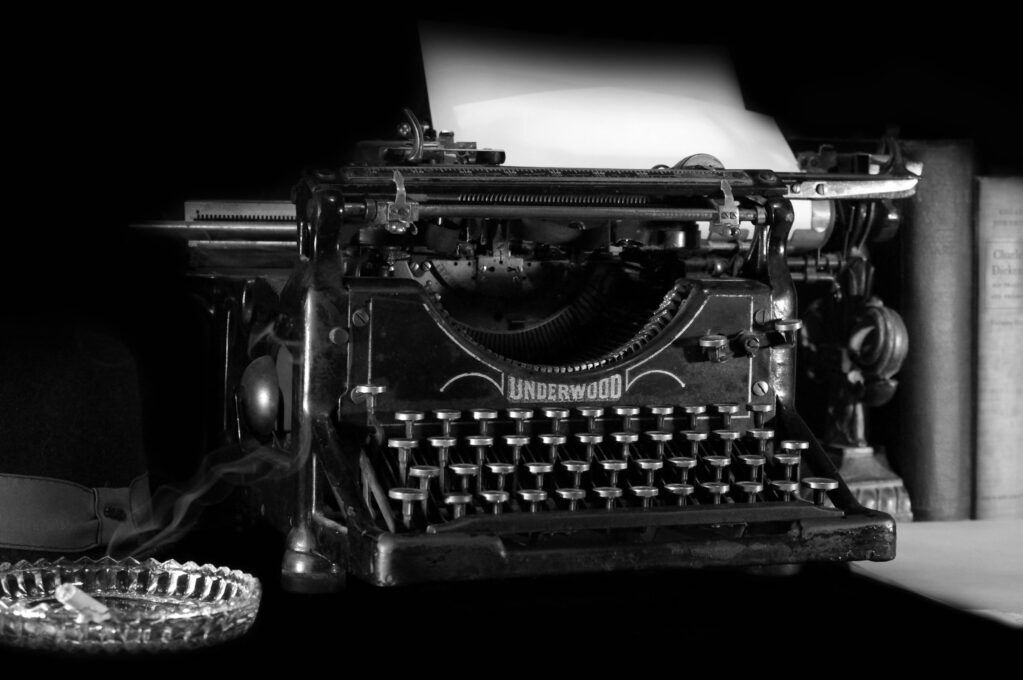 black and white photo of vintage typewriter