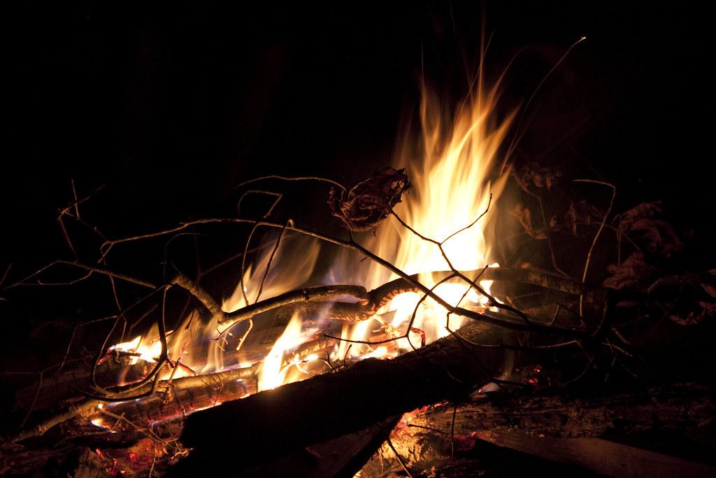 photo of a campfire at night