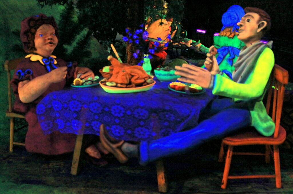 photo of a glow-in-the-dark scene from a popular fairy tale