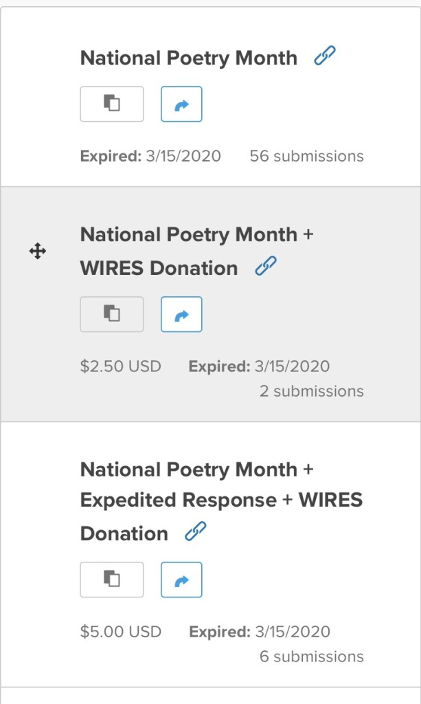 screenshot of National Poetry Month submission form totals