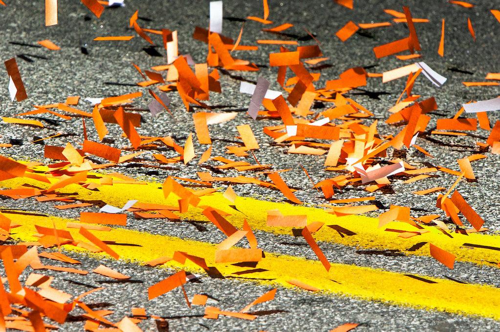 photo of confetti on street