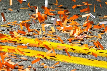 photo of confetti on street