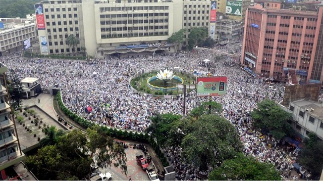 An elevated view of the crowds around the Shapla (Water Lilly) monument