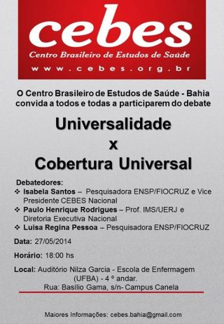 "Núcleo Cebes Bahia realiza debate ""Sistemas Universais de Saúde x Cobertura Universal"""