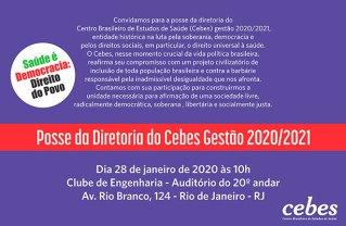 Hoje (28/10) é a posse da diretoria Cebes – Gestão 2020/2021