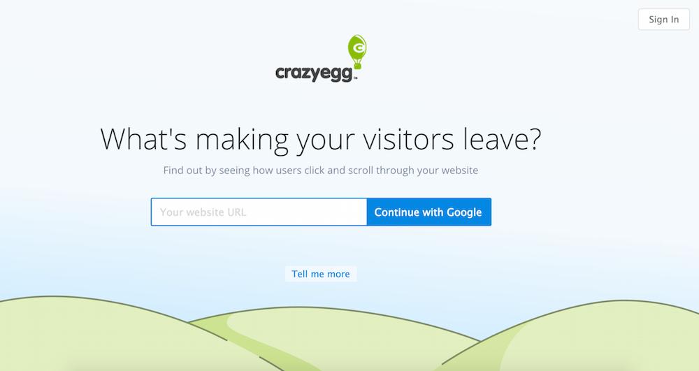 crazyegg google signup test