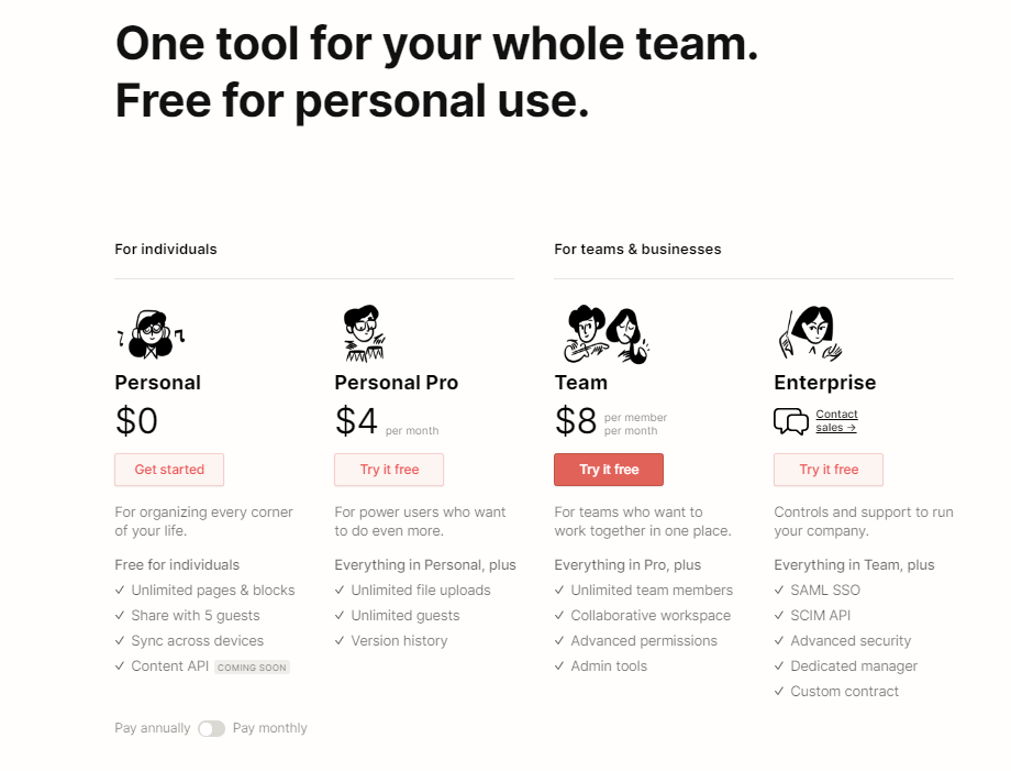 notion pricing Twin Front