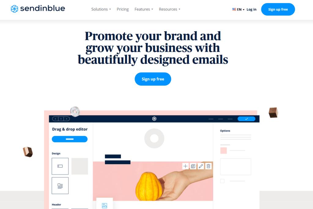 sendinblue splash email marketing Twin Front
