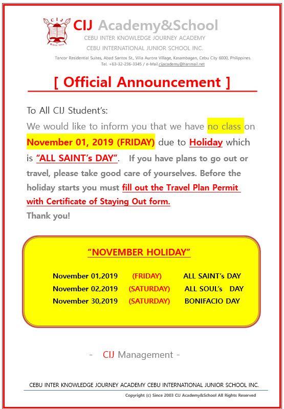 [CIJ Academy] 十一月例假日   菲律賓英語留學 宿務 語言學校 CIJ Academy & School