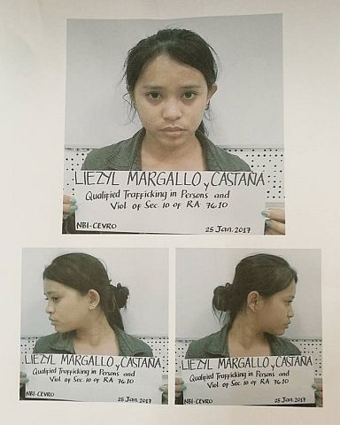 The mugshot of Liezyl Margallo, 23, released by the National Bureau of Investigation (NBI) following her arrest in a resort on Malapascua Island on Jan. 24, 2017. (CDN PHOTO/CHRISTIAN MANINGO)