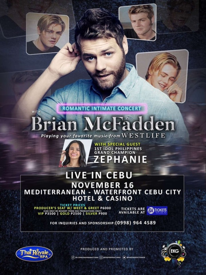 Former Westlife, Brian McFadden romantic intimate concert live in Cebu | Cebu Finest