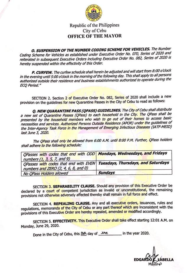 Labella issues Executive Order No. 082-A, amends Carbon Public Market schedules, number coding, and modified curfew hours | Cebu Finest