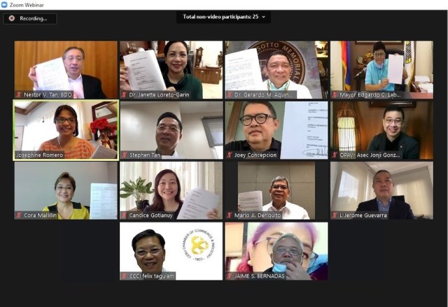 The attendees of the formal virtual MOA signing to roll out Go Negosyo's pooled PCR Testing project | CebuFinest