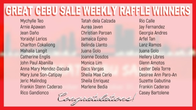 Great Cebu Sale Weekly Online Raffle Winners | CebuFinest