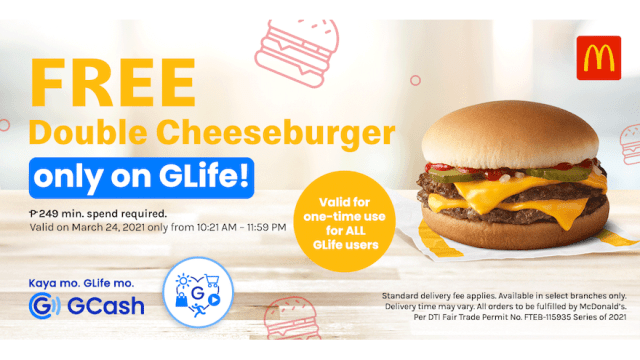 GCash Exclusive: Tap to order in GLife and get FREE McDonald's Double Cheeseburger! | CebuFinest