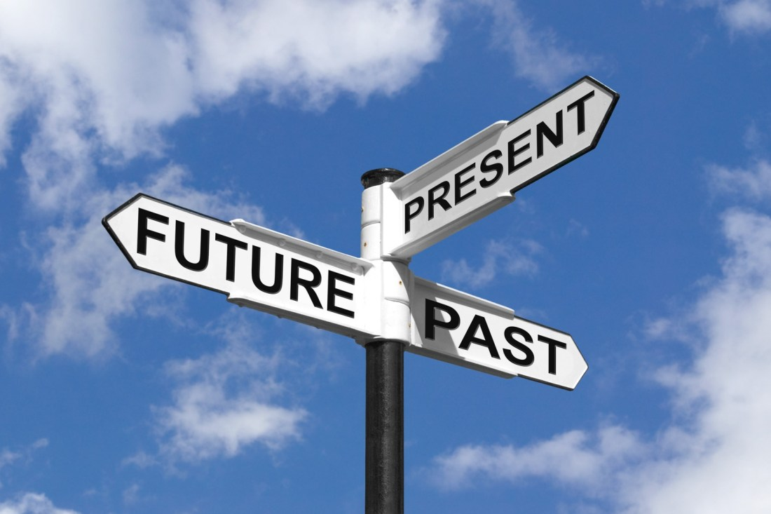 Concept image of Future Past & Present on a signpost against the sky.