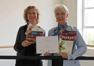 Pictured Left to Right Karin Krochmal, Graphic Designer Betty Seibert, Chair of Cecchetti International Classical Ballet