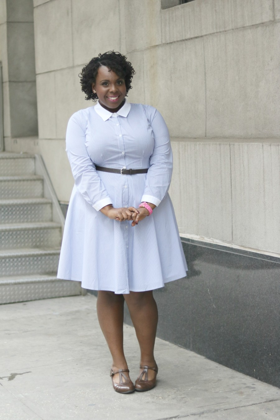 Eloquii Pin Stripe Shirt Dress 1