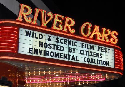 Wild & Scenic Film Festival Marquee at historic River Oaks Theater 2015.