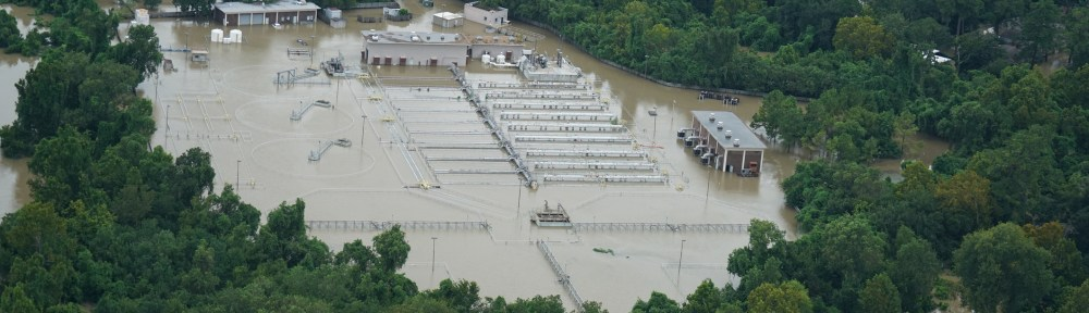 Flooded wastewater facility during Hurricane Harvey