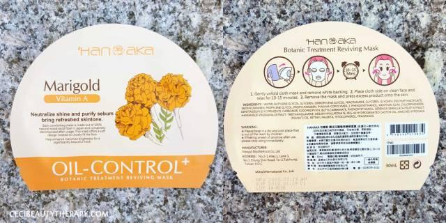 hanaka marigold sheet mask oil controling