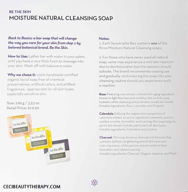 Be the Skin Moisture Natural Cleansing Soap booklet info