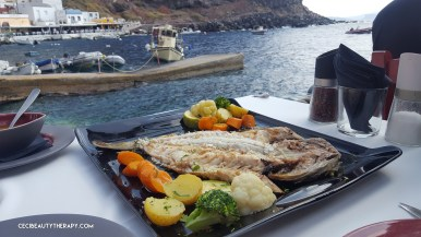 Charcoal grilled grouper at Ammoudi Bay