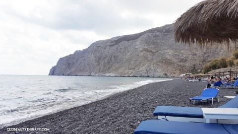 Kamari Beach, black pebbles