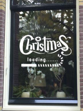 raamtekening Christmas loading, raamtekening kerstmis, raamtekening kerst
